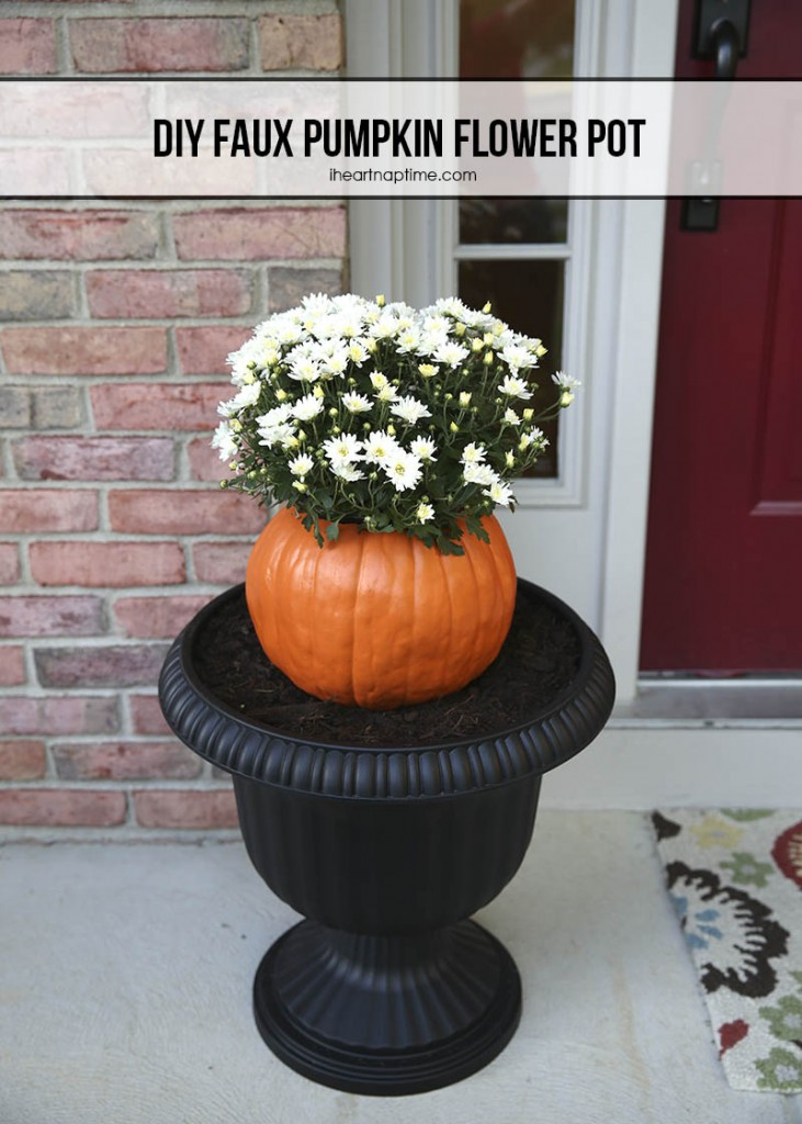 DIY-faux-pumpkin-flower-pot