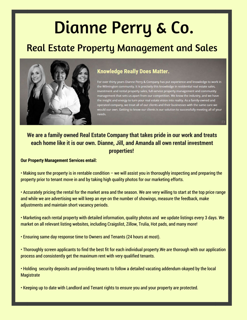 Looking for Property Management in Wilmington NC? See the difference that Dianne Perry & Company offers!